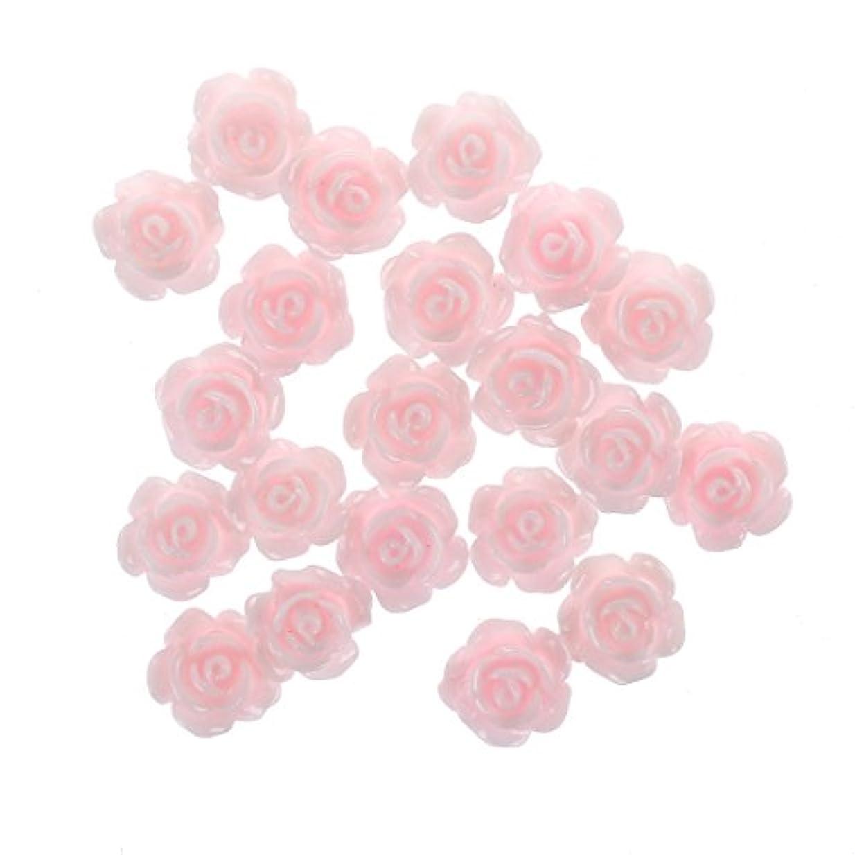 価値のないビルマ機会Nrpfell 20x3Dピンクの小さいバラ ラインストーン付きネイルアート装飾