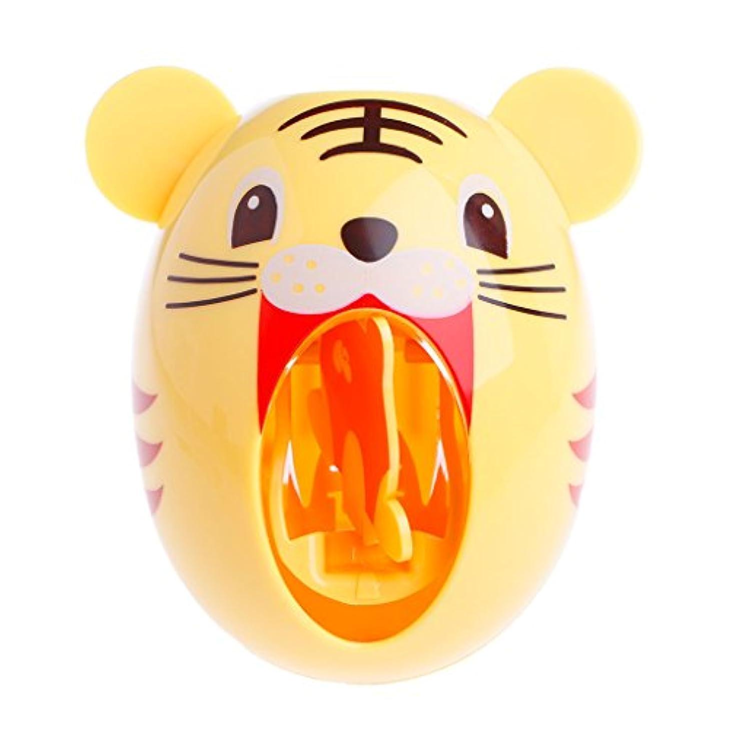 決定フック四分円Lamdooキッズかわいい漫画の動物デザイン歯ブラシホルダー自動歯磨き粉ディスペンス