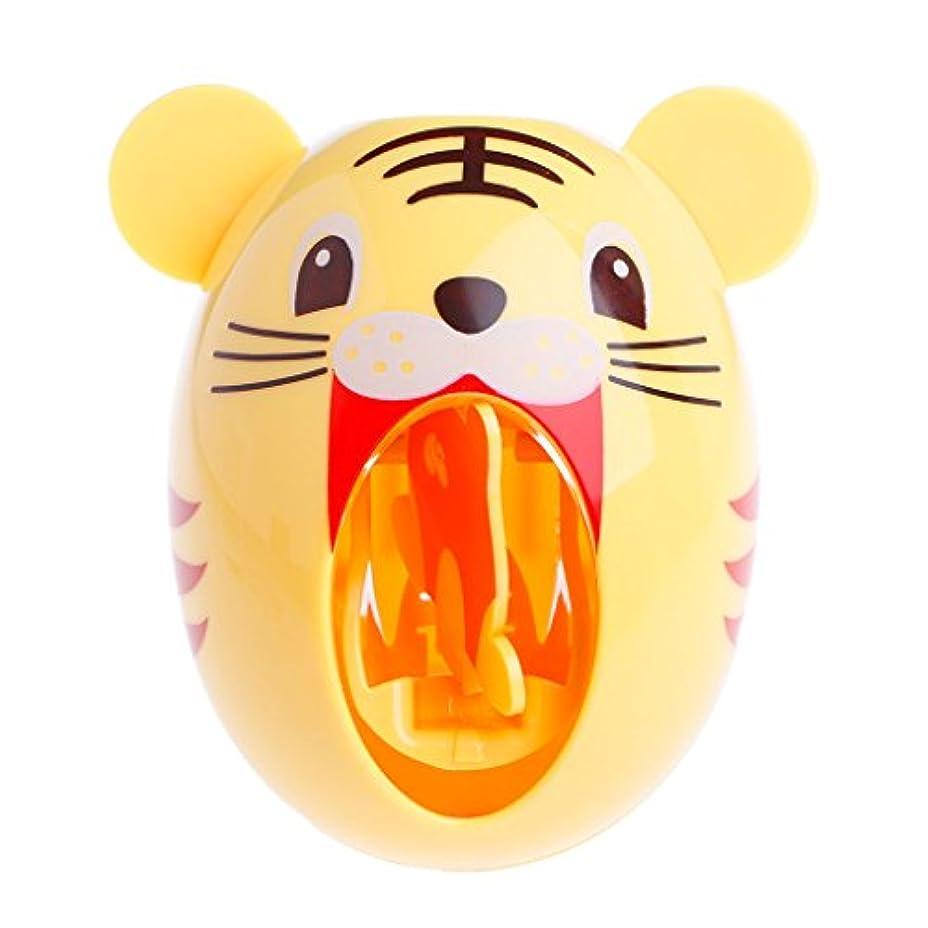 揮発性テレビを見るドアミラーLamdooキッズかわいい漫画の動物デザイン歯ブラシホルダー自動歯磨き粉ディスペンス