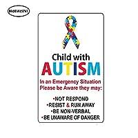 自閉症静的しがみつく3Dカーステッカーホームドアの緊急安全なアラートヘルプ13X 7.8センチメートルが付いている車のスタイリングの子供:自閉症児