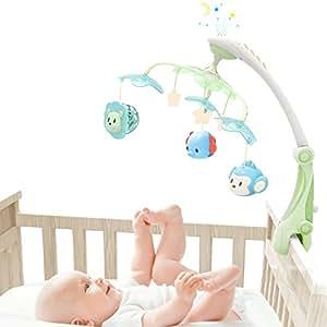 GrowthPicメリー オルゴール モビール ベッドメリー 音楽回転 ライト付き 歯がため 多機能 寝かしつけ用品