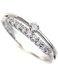 結婚 10周年記念 天然 ダイヤモンド 10石 ホワイトゴールド リング 指輪 K18WG/D:0.30ct 2連調 スイートテン (12)
