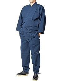 作務衣 日本製 大柄ドビー刺し子織作務衣 綿100% S~3L
