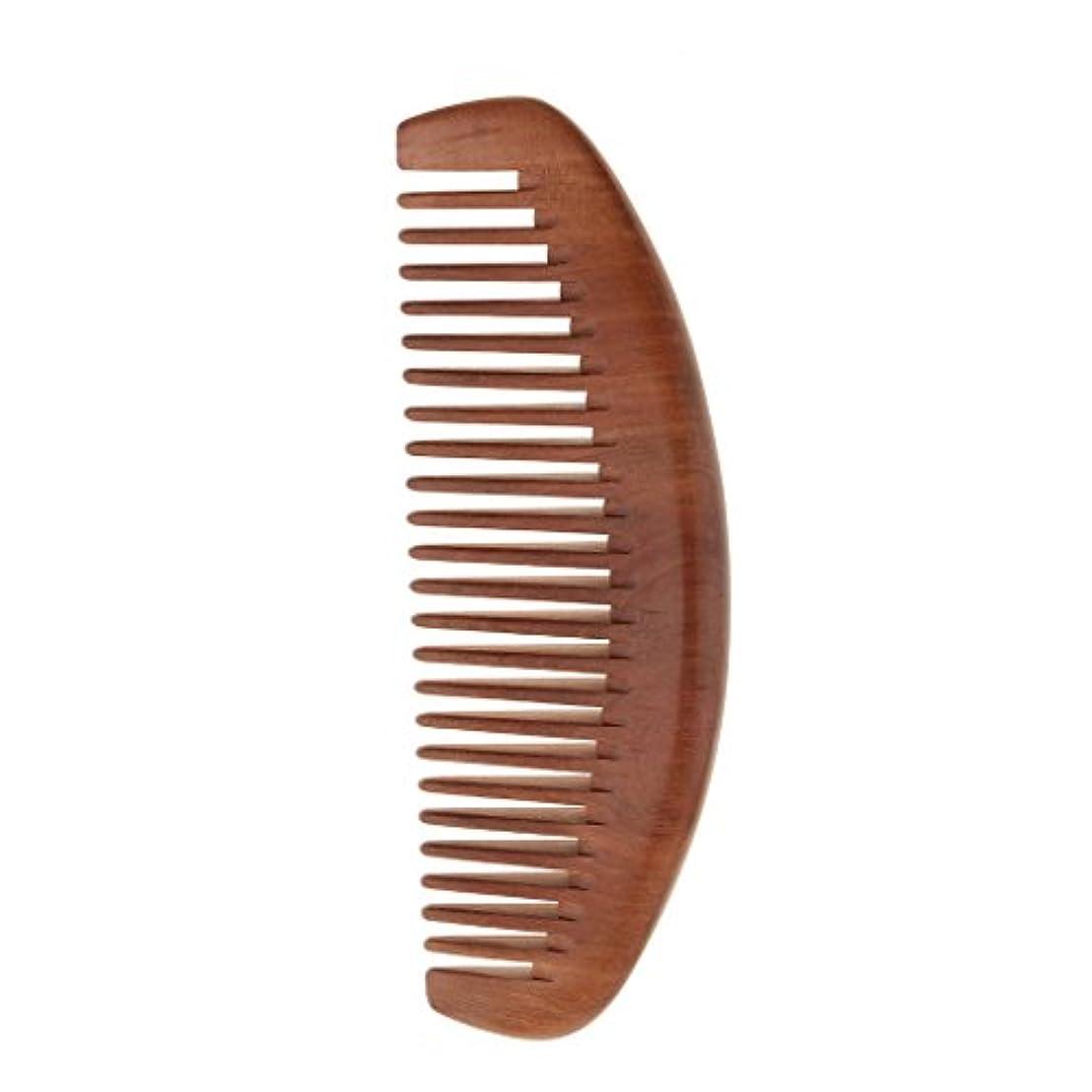 安全でない住居ブロックするDYNWAVE 櫛 セットコーム 木製 ヘアコーム ヘアケア 頭皮マッサージ 静電気防止 桃の木 全2種類 - ワイド歯