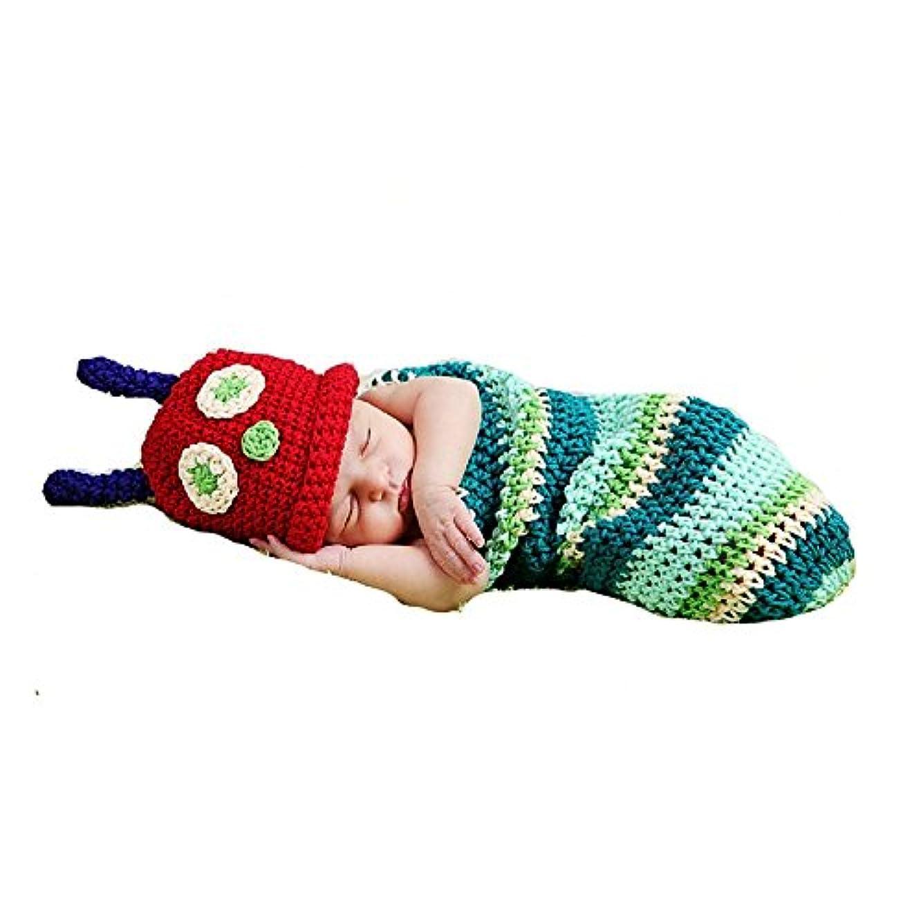 迷信ゆるく面白い新生児 赤ちゃん 写真撮影 小道具 キッズコスチューム ベビー用着ぐるみ コスチューム 寝相アート(100日 記念写真/写真撮影用) 出産祝い (あおむし)