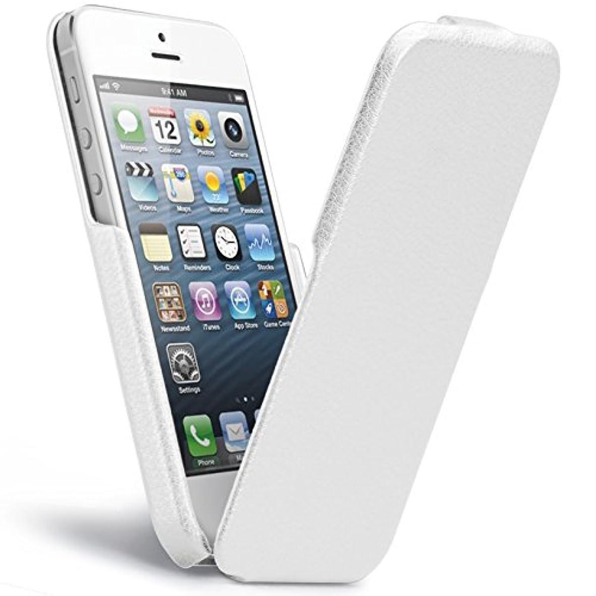 強制的離婚夜間Case-Mate iPhone SE/iPhone 5s / iPhone 5 Signature Flip Case, White シグネイチャー フリップ ハンドメイド 本革レザー ケース, ホワイト CM022840
