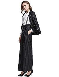 スーツ 洋服 オフィススーツ パンツスーツ 上下 セット ストライプ 洗える ストレッチ ロング丈 レディース きれいめ おしゃれ 気質 ビジネス