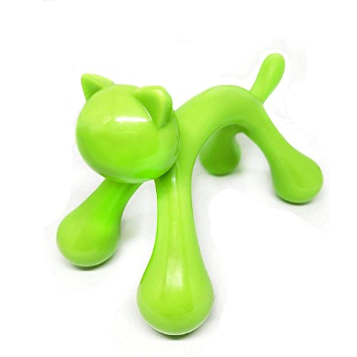 皿フレキシブルめんどりマッサージ棒 ツボ押しマッサージ台 握りタイプ 背中 ウッド 疲労回復 ハンド 背中 首 肩こり解消 可愛いネコ型 (グリーン)