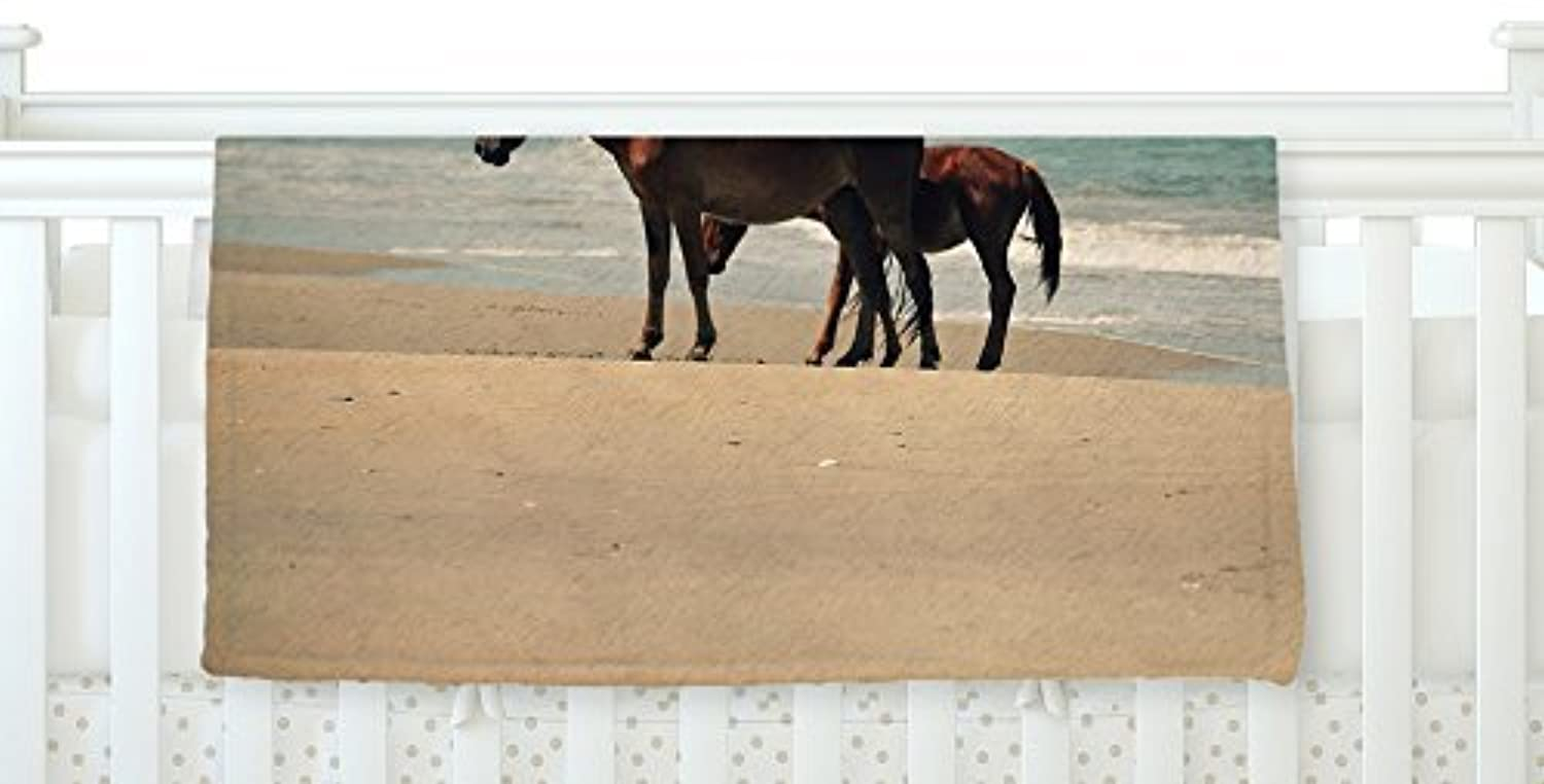 KESS InHouse Robin Dickinson Sandy Toes Beach Horses Fleece Baby Blanket 40 x 30 [並行輸入品]