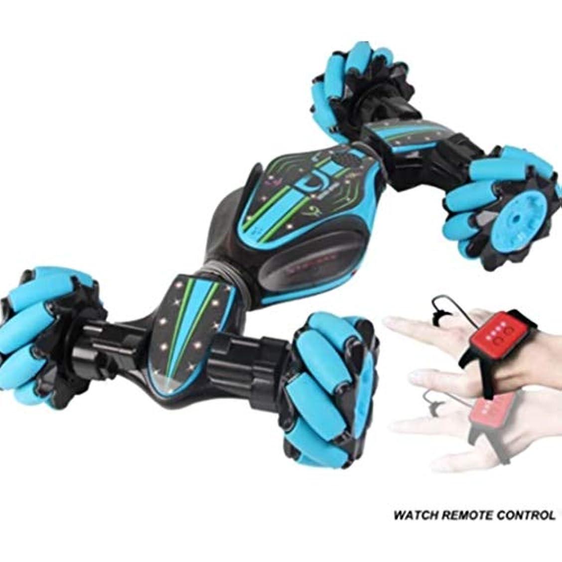 秋ジョブユニークなスタントRCカー、ZOOZEリモートコントロールスタントカーツイストカー2.4Gスタントジェスチャー誘導ツイストオフロード車両ライトミュージックドリフトトラバースリモートコントロールダンスサイドドライビング玩具ギフト