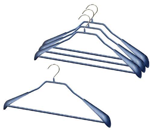 マワ すべり落ちない MAWAハンガー スーツ コート用 ボディーフォームバー付き Mサイズ 4本組 ラメブルー 4431