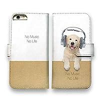 AnglersLife 手帳型 スマホケース iPhone アイフォン レトリバーだってNo Music No Life 【iPhone6】