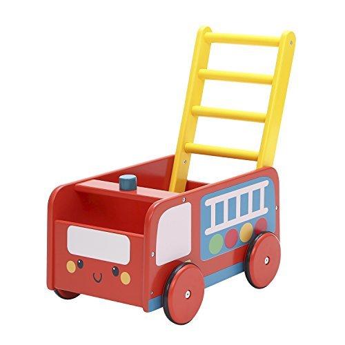 Labebe 子供用ウッドウォーカー プッシュ&プル手押し車おもちゃ ワゴントイ カタカタ - レッド消防車