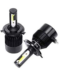 CUHAWUDBA C6車のヘッドライト 電球LEDランプH4 / 9003 / Hb2 LEDヘッドライト電球、2個6500KクールホワイトLEDヘッドライト フォグランプ交換用穂軸電球36W 8000Lm変換キット