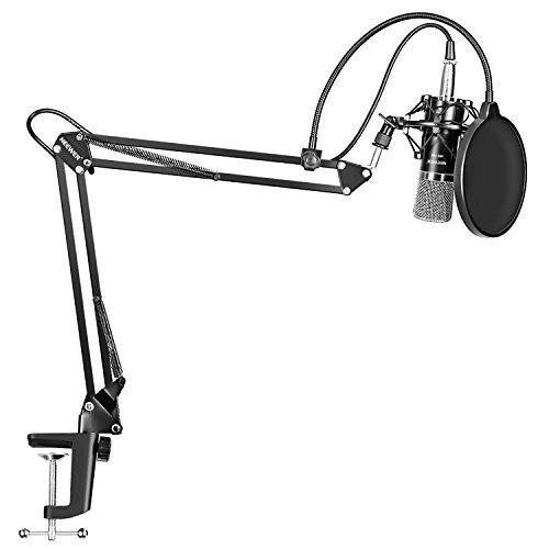 Neewer NW-700 プロフェッショナルスタジオ放送 & 録音コンデンサーマイク&スタンドキット 含:(1)NW-700コンデンサーマイク +(1)NW-35調整可能録音マイクサスペンションシザーアームスタンド マイククリップ & テーブルマウントクランプ+メタルマイクショックマウント+(1)NW-3抗風泡POPマイクフィルタ マスクシールド+(1)ボール型抗風泡キャップ+(1)XLRメスケーブルに対する3.5mmマレケーブル