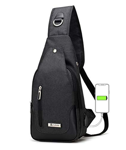 ワンショルダーバッグ メンズ ボディ斜め掛け 胸バッグ USBポートイヤホン穴付き おしゃれ レディース大容量 軽量 防水 人気 肩掛けバック カジュアルブラック