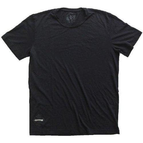 クロムハーツ 半袖Tシャツ CHプラス レザーパッチ/シルバースクロールロゴ ブラック Tシャツ