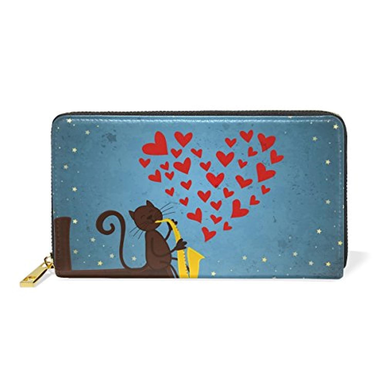 財布 レディース 長財布 大容量 かわいい 猫柄 ネコ 心柄 月柄 星空 可愛い ファスナー財布 ウォレット 薄型 本革 型押し 小銭入れ プレゼント用