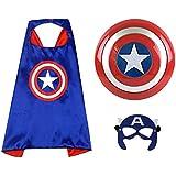 "O3 Captain America 12"" Shield + Blue Cape Cosplay Set, Cartoon Superhero Dress up Costumes Suit, Plastic Shield + Satin Cape,"