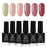 Beetles Magic One Step Gel Nail Polish, 6 Colors Nude Colors Collection Red Nail Polish UV Led Required Fast Curing Easy Soak Off, No Base and Top Coat Needed