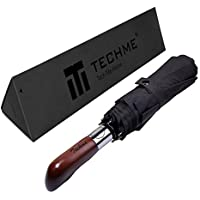 TechMe 折り畳み傘 ワンタッチ自動開閉300T最高級のファブリック 高強度グラスファイバー 8本骨 118cm 耐風撥水 軽量楽々 ビジネス用 日本国内品質保証