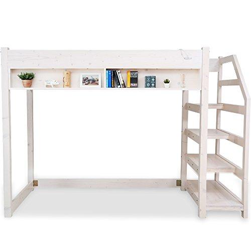 LOWYA (ロウヤ) ロフトベッド コンセント 本棚 ディスプレイラック 階段付 天然木パイン材 シングル ホワイト 一人暮らし おしゃれ 新生活