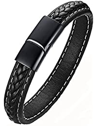 Aooaz ステンレス ブレスレット 腕輪 メンズ バングル カフ 織り ブラック 19cm
