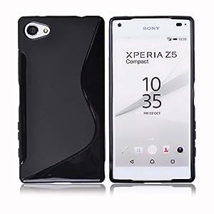 ドコモ Xperia Z5 Compact TPU グリップカバーケース ( docomo SO-02H エクスペリアゼット5コンパクト 4.6インチ スマホ 対応 カバー ) 薄型軽量17g / 滑止めグリップ加工 / ソフトフィットモデル (Xperia Z5 Compact, Design S Black (黒))