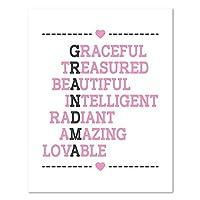 おばあちゃん、おばあちゃんの日のギフト、誕生日ギフト、壁印刷、おばあちゃんおばあちゃんアクロスティックLovely装飾、インスピレーションおばあちゃんDecor 16x20 PRIacrosGraENPin1620.m
