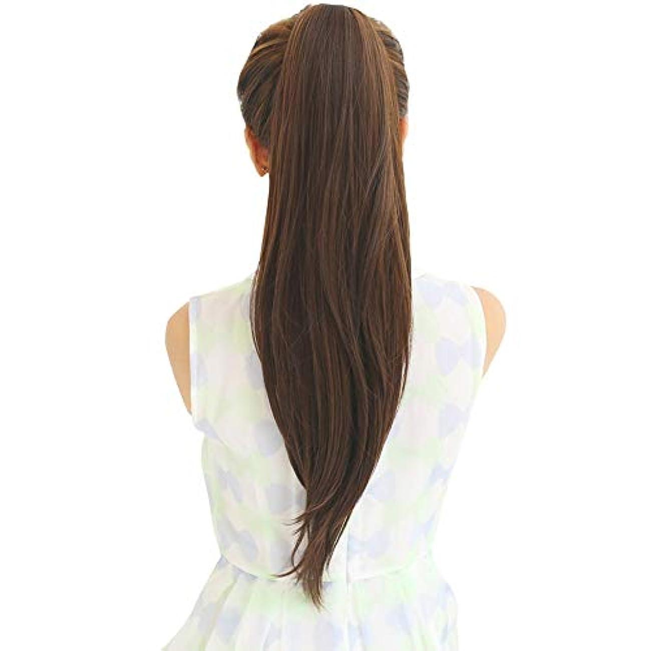 勧める無法者放送SRY-Wigファッション ウィッグポニーテール女性ロングストレートヘアバンドリアルヘアロングヘアインビジブルナチュラルスコーピオン完全な人間の髪の毛