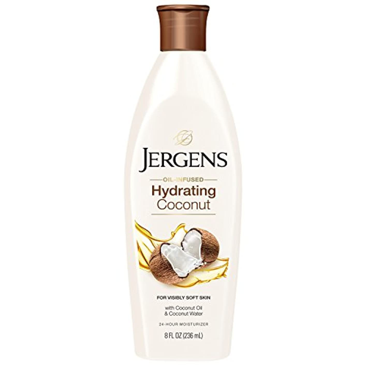 バトル周り輸送Jergens 水和ココナッツドライスキンモイスチャライザー、8オンス(包装変更になる場合があります)