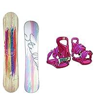 STELLA レディース スノーボード2点セット ベージュ138+17ピンク