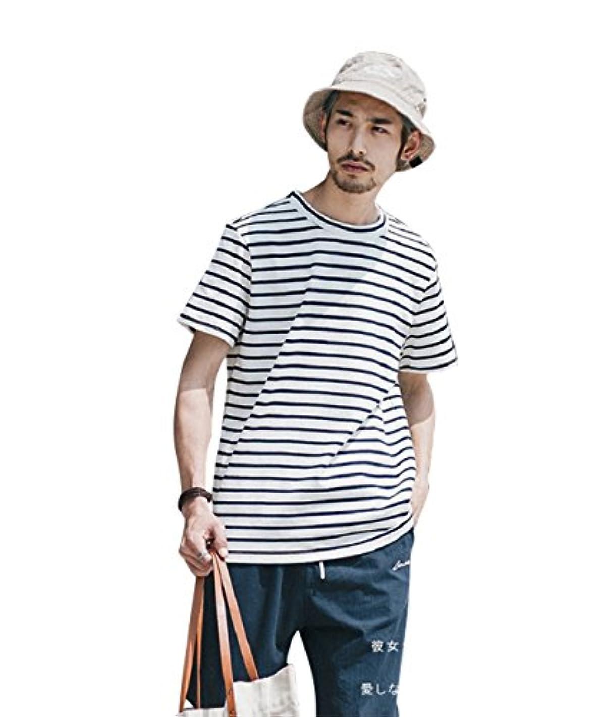 レンチ分注する守るCLOCOLOR Tシャツ カットソー 短袖 ビッグシルエット ボーダー 綿 大きいサイズ メンズ