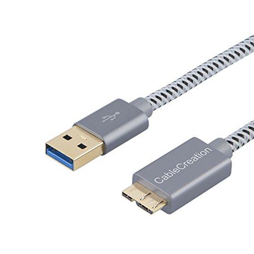 usb a-microb,CableCreation USB 3.0 Type A to Micro USBケーブル スーパースピードショート編組USB 3.0 - Micro USBコード 外付けハードドライブ、HDカメラ、Samsung Note 3 / Galaxy S5 / N9000など対応 スペースグレー 0.3m