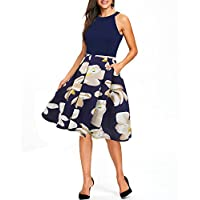 oxiuly Women's Vintage Halter Neck Floral Patchwork Pockets Casual Swing Dress OX257