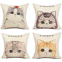 Top Finel クッションカバー  Cushion Covers おしゃれ 北欧 ソファ背当て 部屋飾り 可愛い 猫柄 リネン 45×45CM 4枚セット