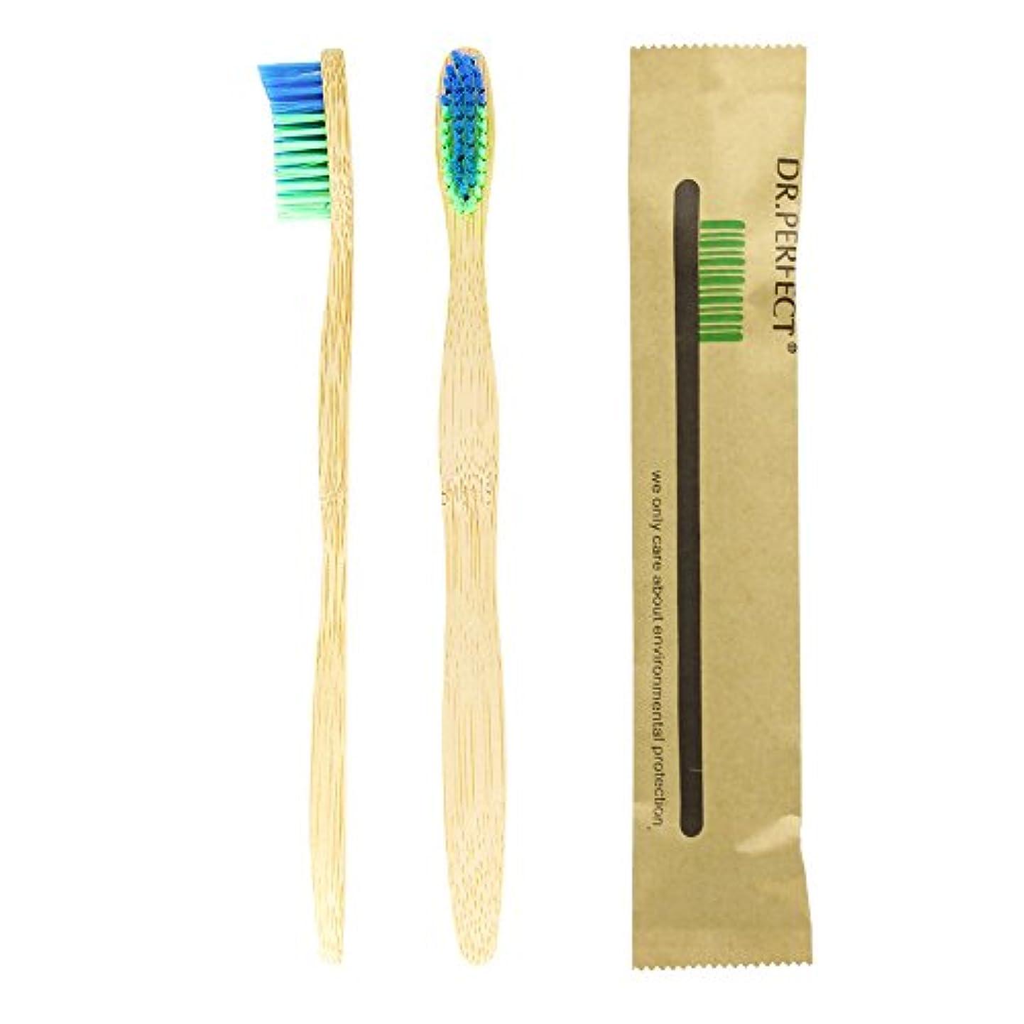 ネイティブページ避けるDr.Perfect 歯ブラシアダルト竹の歯ブラシ ナイロン毛