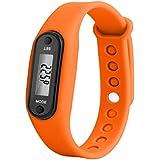 Fitness Watch Bracelet Digital LCD Wristband Pedometer Running Walking Distance Calorie Counter Wrist Sport Tracker : Orange