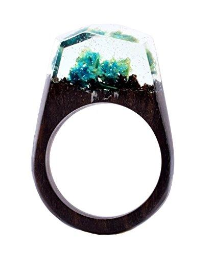 ハンドメイドSecret木製樹脂リングカラフルな花Micro内側リングジュエ...