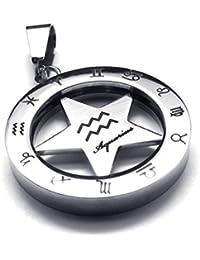 [テメゴ ジュエリー]TEMEGO Jewelry メンズステンレススチールヴィンテージゾディアックペンダント回転可能水瓶座ネックレス、シルバー[インポート]