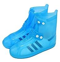 [メルミー] レインシューズカバー PVC 透明 大きいサイズ 防水 滑り止め加工 バックルMLAP-162288-blue-S