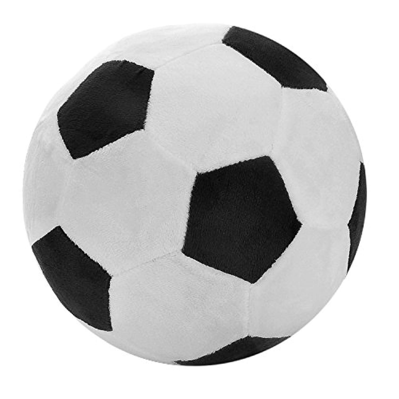 SODIAL サッカースポーツボール スローピロー、柔らかいぬいぐるみトーイ 幼児ベビーボーイズ子供ギフト、 8インチ L X 8インチ W X 8インチ H、ブラック