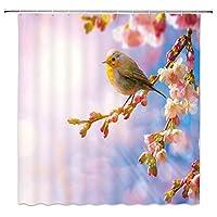 春の桜のシャワーカーテン花の枝に小さな鳥自然の風景の装飾生地のバスルームのカーテン、フック付きの防水ポリエステル 165X180 CM