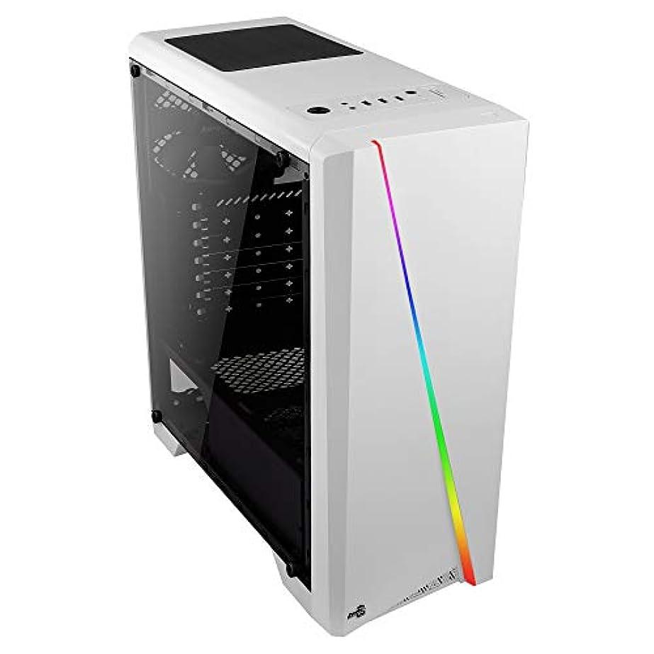アラームトークン識別Aerocool Cylon PCゲーミングケース、Mid-Tower ATX、RGB、13の照明モード、フルウィンドウ、ゲーマーに最適白