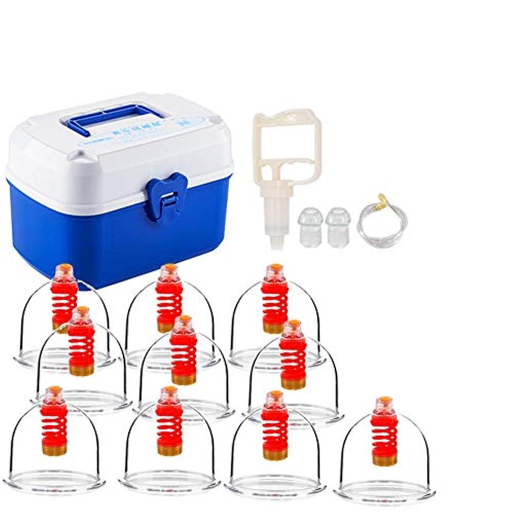 味付け不満独立10カップカッピングセットプラスチック、大型カッピングバキュームプロフェッショナルサクションメディカルグレード、ボディマッサージ痛みの緩和理学療法ポンプガンで毒素を排出