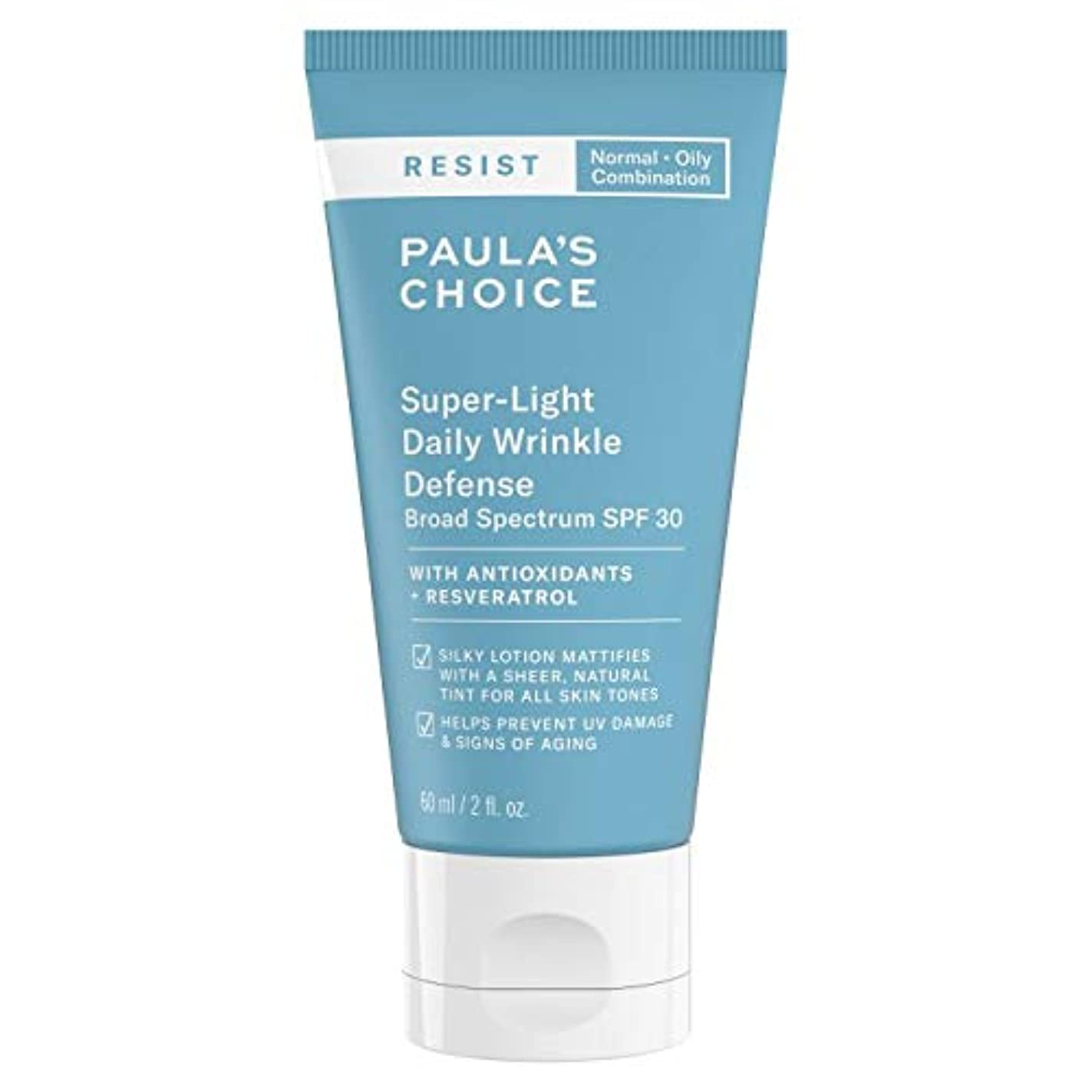 バイアス胆嚢バストポーラチョイス レジスト スーパーライト 毎日のしわの防衛 サンスクリーン (60ml) SPF30 / Paula's Choice Resist Super-Light Daily Wrinkle Defense Sunscreen