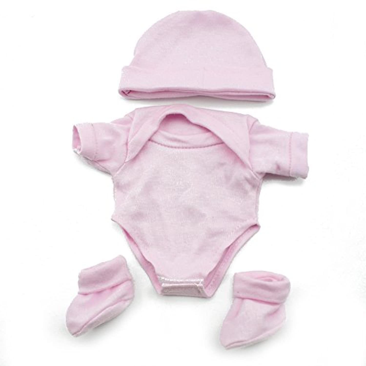 Pure Pink Cute Cloth Romper Clothes Hat Bootees For 10 Reborn Baby Dolls by Reborn Babies