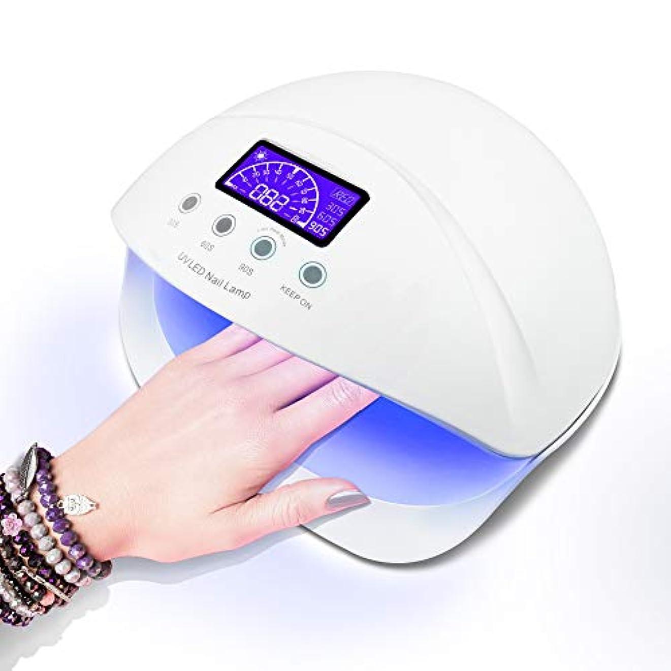 広がり伝染性側LED ネイルドライヤー UVネイルライト 50W ハイパワー ジェルネイルライト 肌をケア センサータイマー付き UVライト 速乾UV ネイル ハンドフット両用  ネイル led ライト [日本語取扱説明書付き]