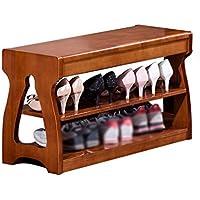 CSQ 2層ソリッドウッドの靴のベンチ、 ハイヒール収納ラック 雑貨のキャビネット スニーカー収納ラック 靴 (色 : Brown, サイズ さいず : 30 * 46 * 63CM)