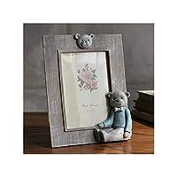 クリエイティブかわいいクマの装飾樹脂フォトフレーム用子供ベビーホームインテリアデスクトップ額縁品質1ピースフレーム,Blue,6 inch